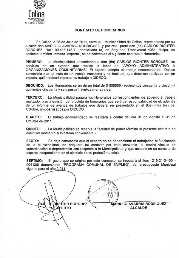 Imagen contrato honorarios entre Carlos Richter y Alcalde de Colina - Imagen T13.cl