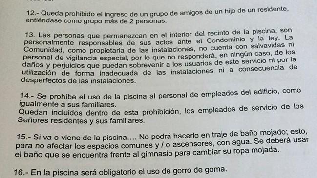 María Gabriela Rubio adjunto el reglamento en su publicación de Facebook.